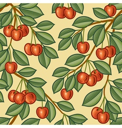 Seamless cherry background vector