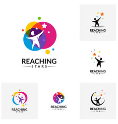 Set of reaching stars logo design template dream vector