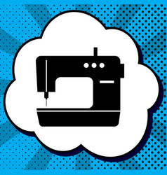 sewing machine sign black icon in bubble vector image