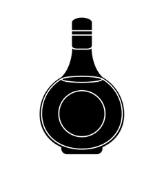 silhouette cognac bottle alcochol drink style vector image