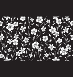 Simple silhouette classic floral seamless pattern vector
