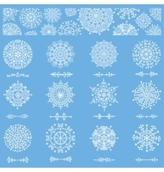 Snowflakes shapesdivider borders and pattern vector