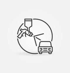 Spray gun with auto concept linear icon vector