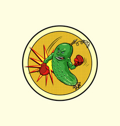 strong cucumber vegetarian emblem and healthy vector image
