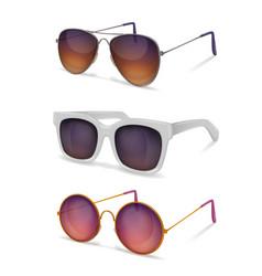 Sun goggles realistic set vector