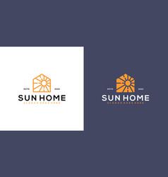 sun homes logo design line vector image