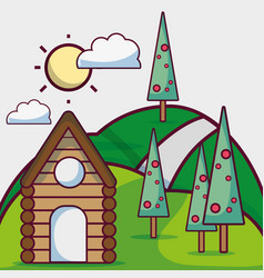 Sun weather with pine trees and cabin vector