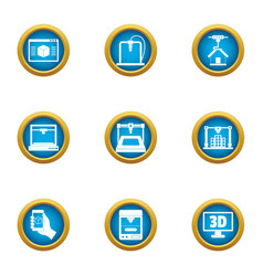 Telescreen icons set flat style vector