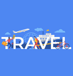travel word concept cartoon traveler running with vector image