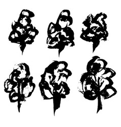 trees silhouettes collection hand drawn brush vector image
