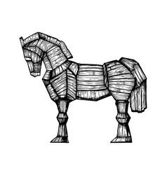 Trojan horse engraving vector