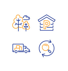 Truck transport tree and parking icons set vector