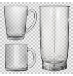 Two transparent glass cups and one glass vector image