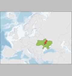 ukraine location on eastern europe map vector image