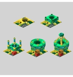 Unusual research station yellow-green colors vector