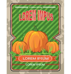 Vintage Card with a Pumpkin vector image