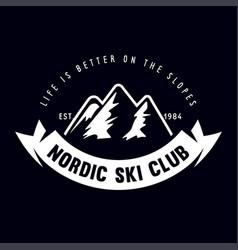 vintage ski or winter sports logo badge emblem vector image