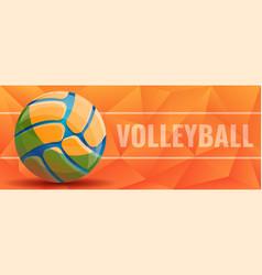 Volleyball concept banner cartoon style vector