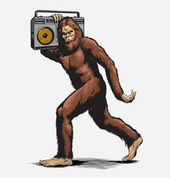 walking sasquatch with boombox vector image