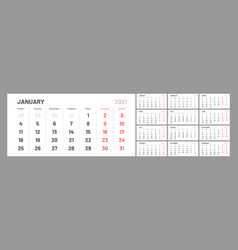 wall calendar template for 2021 year planner vector image
