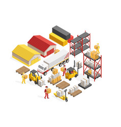 Warehouse logistics isometric concept vector