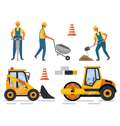 Worker with drill carriage bulldozer construction vector
