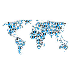 Worldwide map pattern users items vector