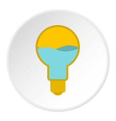 Yellow light bulb with blue water inside icon vector