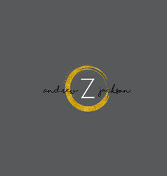 z letter logo design with gold rounded texture vector image