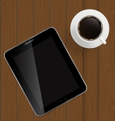 Abstract design tablet coffee on boards Background vector image vector image