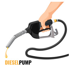 diesel pump promotional poster with fuel nozzle in vector image vector image