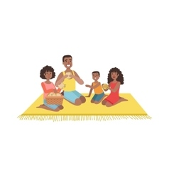 Family With Two Kids On Picnic vector image