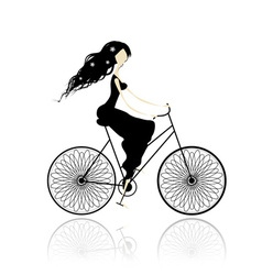 Girl in black dress cycling vector image vector image