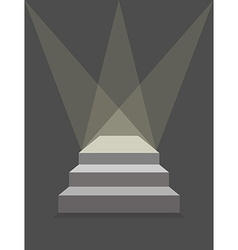 podium with steps and lighting Pedestal with three vector image