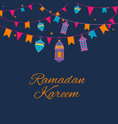 Ramadan lanterns garland pattern arabic vector