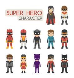 Set of super hero costume characters vector image
