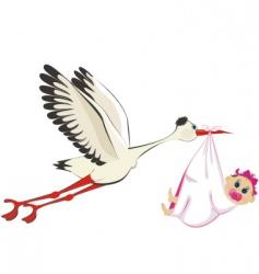 stork delivering a girl vector image