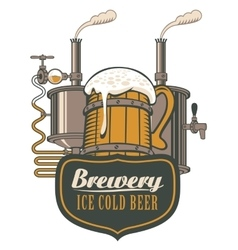 wooden circle of beer and brewing machine vector image
