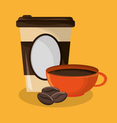 Background glass disposable for hot drinks with vector