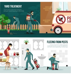 Pest Control Technology Flat Banners Set vector image vector image