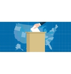 usa map vote election hand holding ballot paper vector image vector image