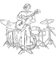 hipster playing guitar vector image