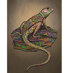 Ornate lizard with ethnic pattern Rich colored vector image