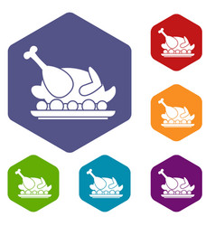 Roasted turkey icons set vector