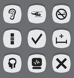 set of 9 editable clinic icons includes symbols vector image vector image