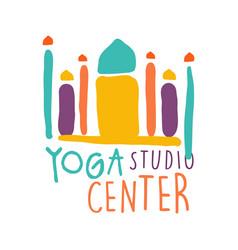 Yoga studio center logo colorful hand drawn vector