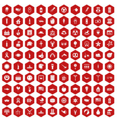 100 summer holidays icons hexagon red vector image vector image