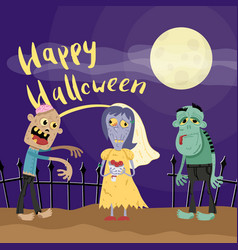 happy halloween poster with zombies in cemetery vector image vector image
