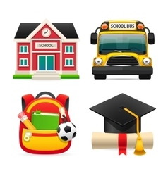 Set of Four School Icons vector image