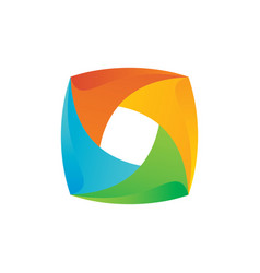 Square 3d colored business finance logo ima vector